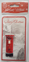 Merry Christmas Snowy Red Postbox Money Wallet